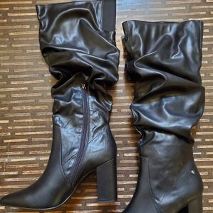 Kohl's Slouchy Faux Leather Boots NWOT Halfzip